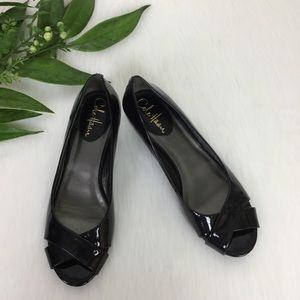 Cole Haan Black Patent Leather Wedge Pumps